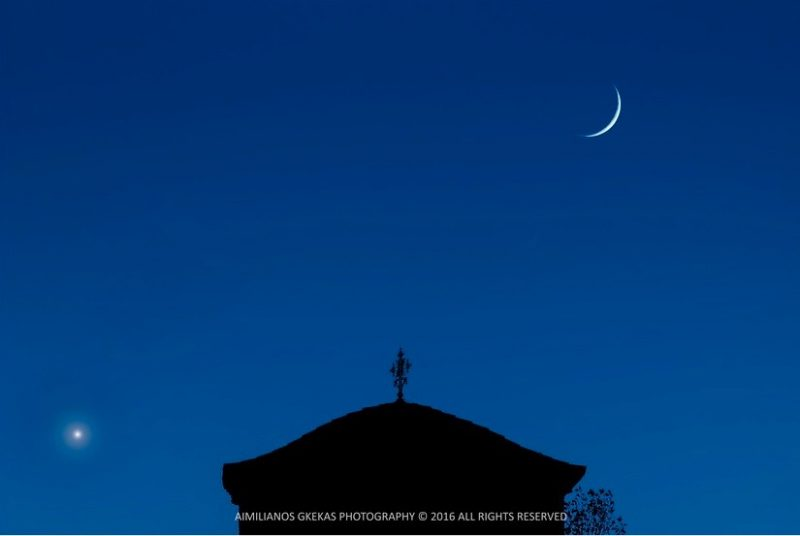 Venus and moon over the church at Meteora, Greece, October 3, by Aimilianos Gkekas.