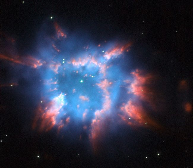 Here's another NGC 6326, a planetary nebula with glowing wisps of outpouring gas that are lit up by a binary central star. Image via ESA/Hubble and NASA. http://spacetelescope.org/images/potw1010a/