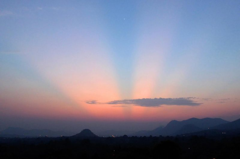 Don't let these beautiful crepuscular rays blind you to the little dot that is Venus, near the top of the photo by Peter Lowenstein. Photo taken October 23, 2016 in Mutare, Zimbabwe.