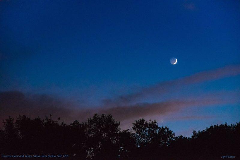 Moon and Venus at sunset. Santa Clara Pueblo, New Mexico, by April Singer.