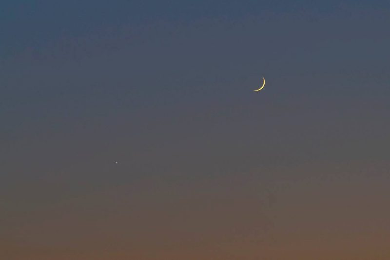 Venus and moon over Athens, Greece, October 3, by Nikolaus Pantazis.