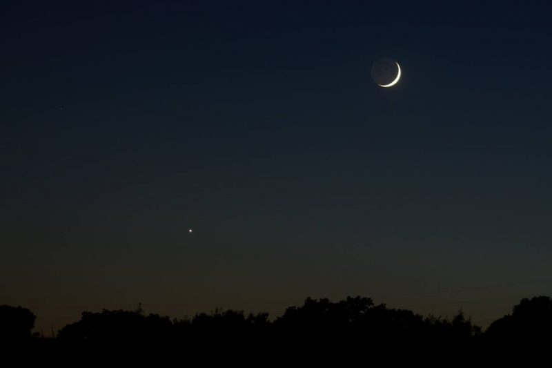 Venus and the moon from Madrid, Spain by Annie Lewis.