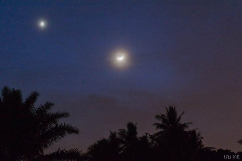 Venus and moon over Malaysia, October 3, by Azya Matsumoto.