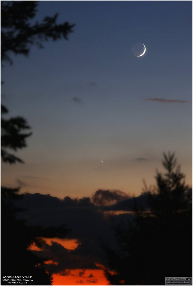 The moon and Venus from Weatherly, Pennsylvania by Tom Wildoner of LeisurelyScientist.com.