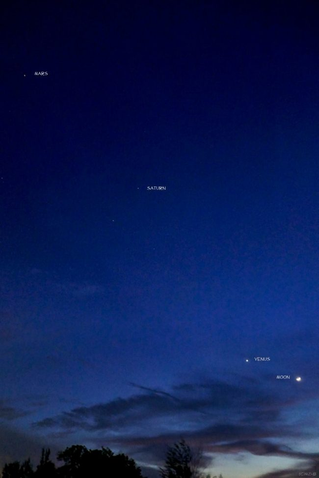 Zefri Besar in Brunei Darussalam - Brunei is a tiny nation on the island of Borneo, in 2 distinct sections surrounded by Malaysia and the South China Sea - caught Venus, the moon, Saturn and Mars on the night of October 3, 2016.