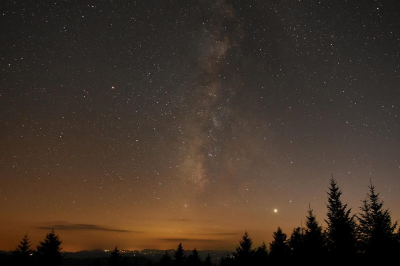Two bright dots close together, and Milky Way, above forested horizon.