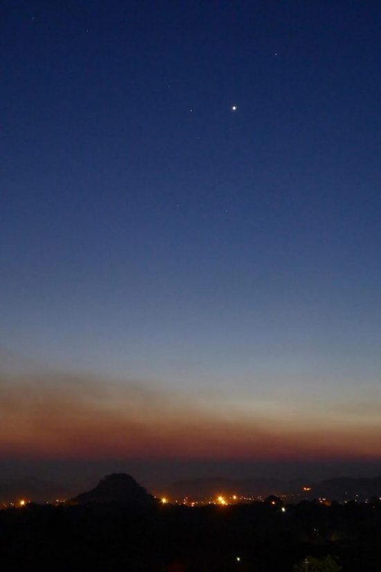 Venus (brightest), Antares (left of Venus) and Saturn as seen on October 26, 2016 by Peter Lowenstein in Mutare, Zimbabwe.