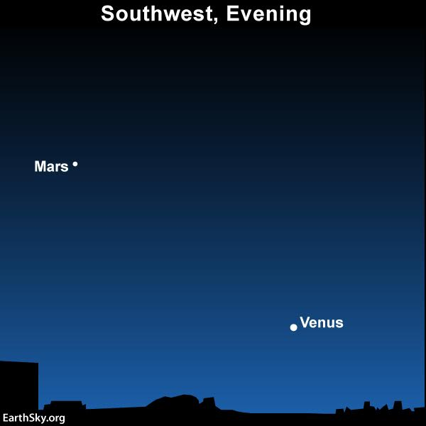 At nightfall, look for the red planet Mars above Venus. It'll be easier to catch than Mercury!