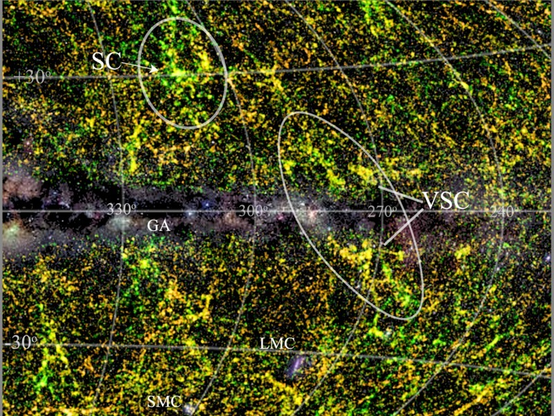 The Vela supercluster in its wider surroundings. Image via Thomas Jarrett (UCT).