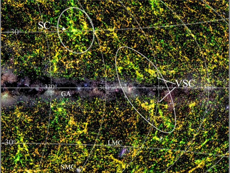 The Vela supercluster in its wider surroundings. Image via Thomas Jarrett (UCT).