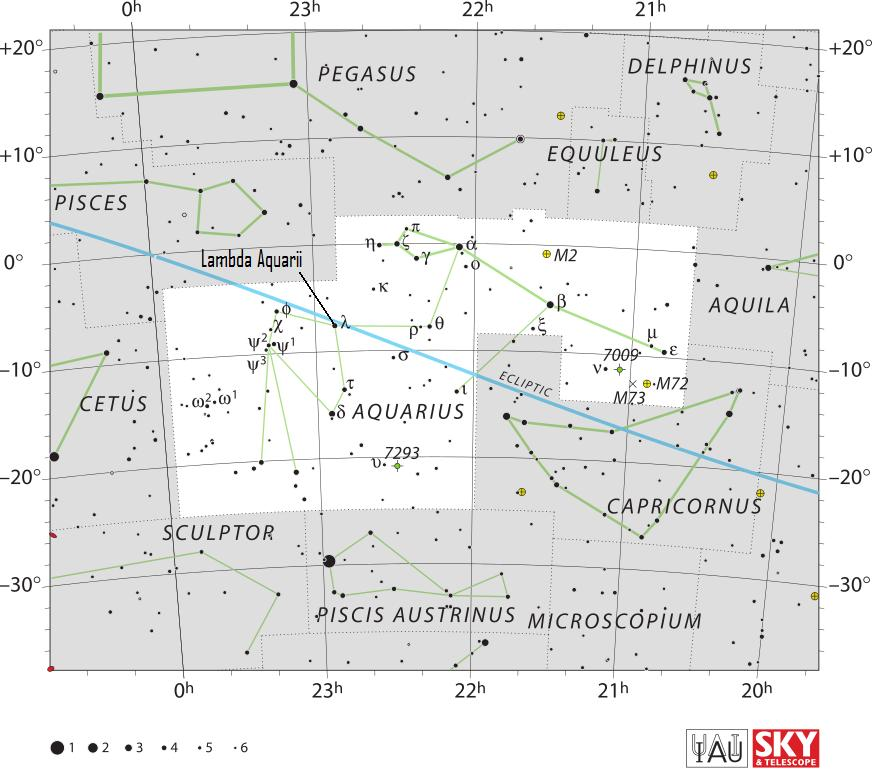 Sky chart of the constellation Aquarius. We label the star Lambda Aquarii, a 4th-magnitude star that is visible to the unaided eye in a dark sky.