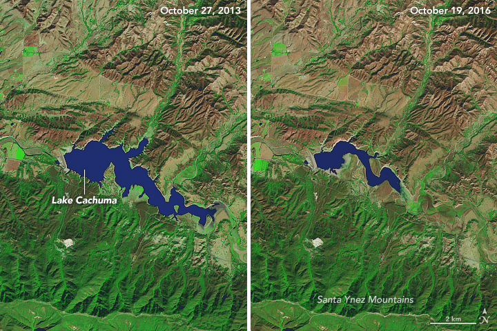 Remarkably low water levels in many reservoirs in Southern California are another indicator of the severity of the drought. For instance, the volume of water in Lake Cachuma—which supplies Santa Barbara with drinking water—has fallen to about 7 percent of capacity. The Operational Land Imager (OLI) captured images (below) of the reservoir on October 27, 2013, and October 26, 2016. The sharp decline in water levels has exposed much of the bottom of the reservoir.  Image via NASA Earth Observatory.