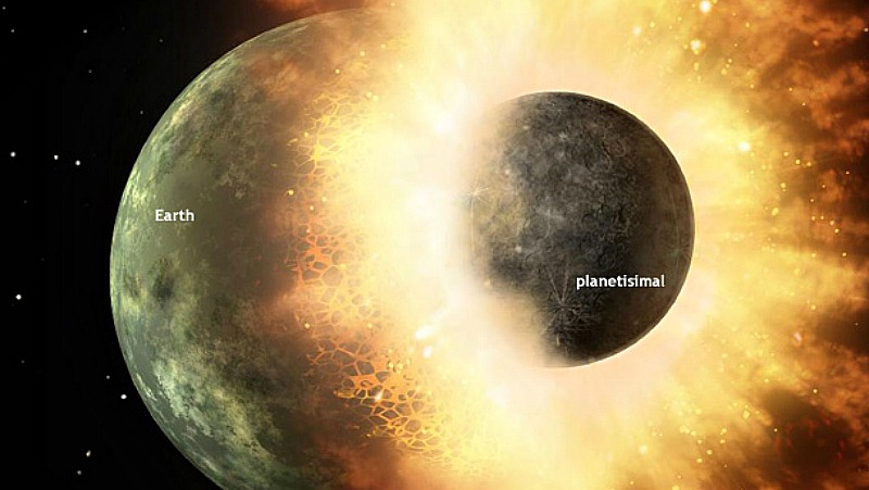 What the collision that spawned Earth's moon may have looked like. Collisions between Earth and rocky debris in the early solar system would have kept the surface molten and surface temperatures blistering. Image via NASA.