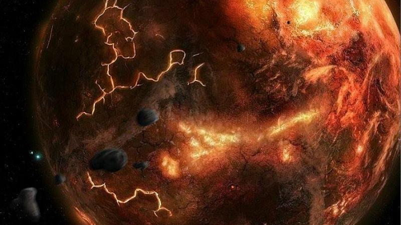 Artist's impression of Hadean Earth. Image via The Hadean Era