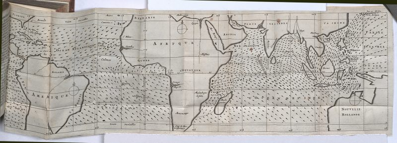 Long world map with the oceans covered in tiny arrows.