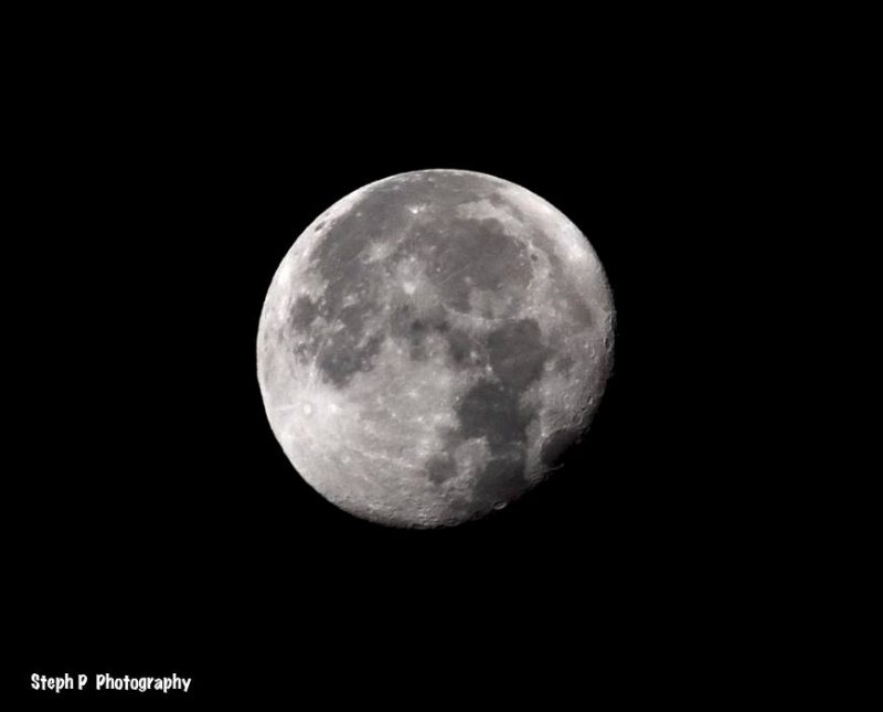 Waning gibbous moon ascending in the east late at night, captured by Steph P Photography on November 16, 2016. Each evening, the moon will wane smaller, taking on a more oblong (and strange) shape.