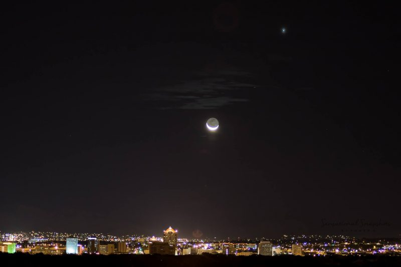 Moon and Jupiter over downtown Albuquerque, New Mexico, via 505 VW BUS.