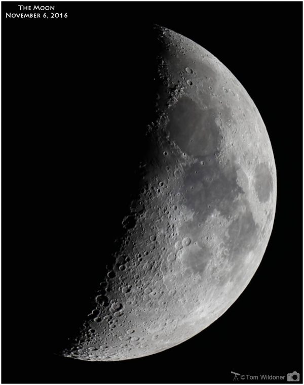 Last night's moon - November 6, 2016 - was nearly at 1st quarter (41% illuminated). Caught by Tom Wildoner from Weatherly, Pennsylvania.