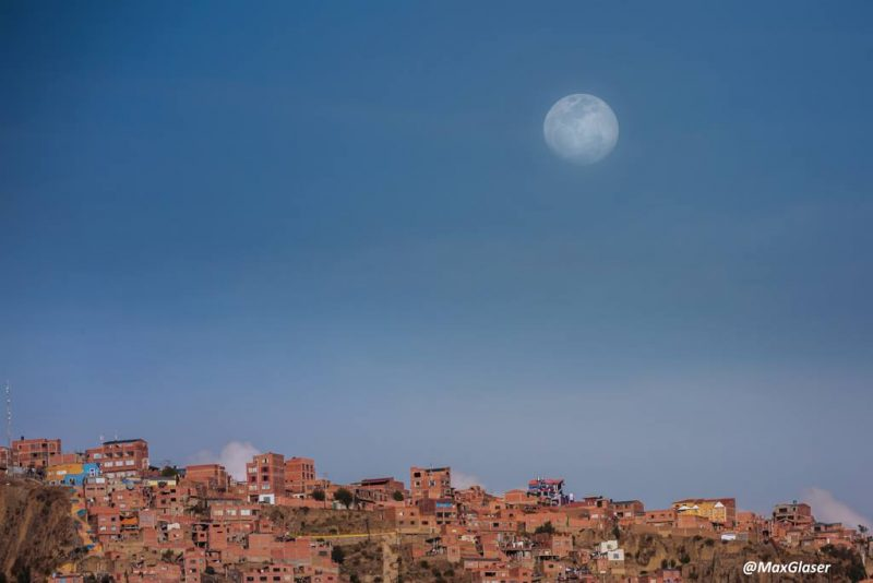 Almost a supermoon, rising Saturday evening over La Paz, Boliva. Photo by Max Glaser.