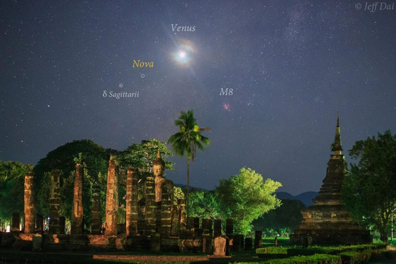 The bright object is Venus! The nova, PNV J18205200-2822100, is visible to the eye, but just barely. The setting is Wat Mahathat in the Sukhothai Historical Park in Thailand. Founded by Sri Indraditya between 1292 and 1347, it was the main temple of the city as well as the ancient Sukhothai Kingdom.