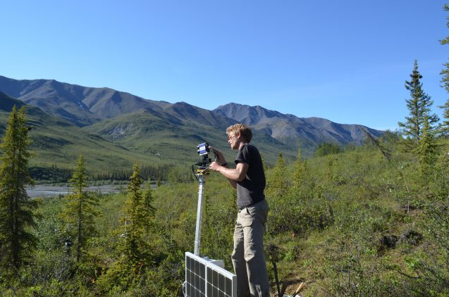 Team leader Jan Eitel of the University of Idaho sets up a solar-powered radar camera that will scan a study site continuously for years, to capture how trees respond to changing conditions. Image via