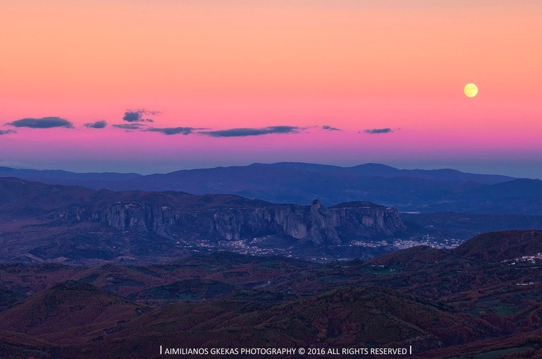 Sunday's supermoon over Aimilianos Gkekas at Meteora, Kalampaka, Greece.