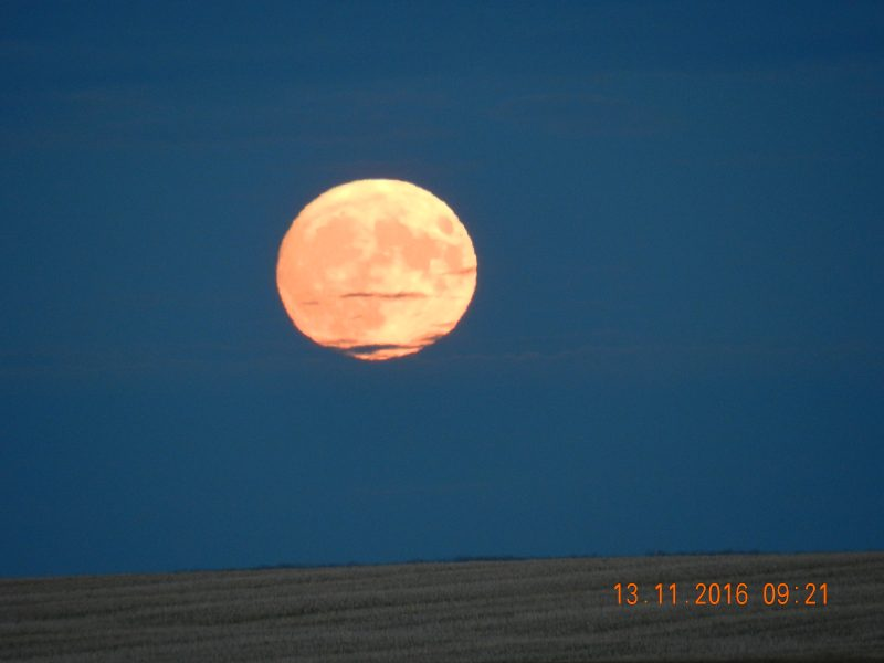 Josephine Sane in Melfort, Saskatchewan, Canada caught the supermoon on November 13, 2016, over a recently harvested grain field by her home.