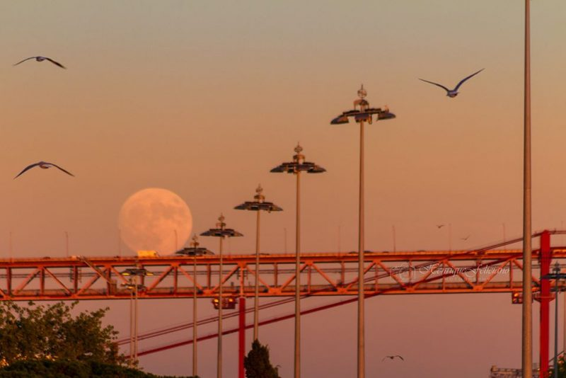 Henrique Feliciano Photography caught the rising supermoon Sunday evening over Lisbon, Portugal.