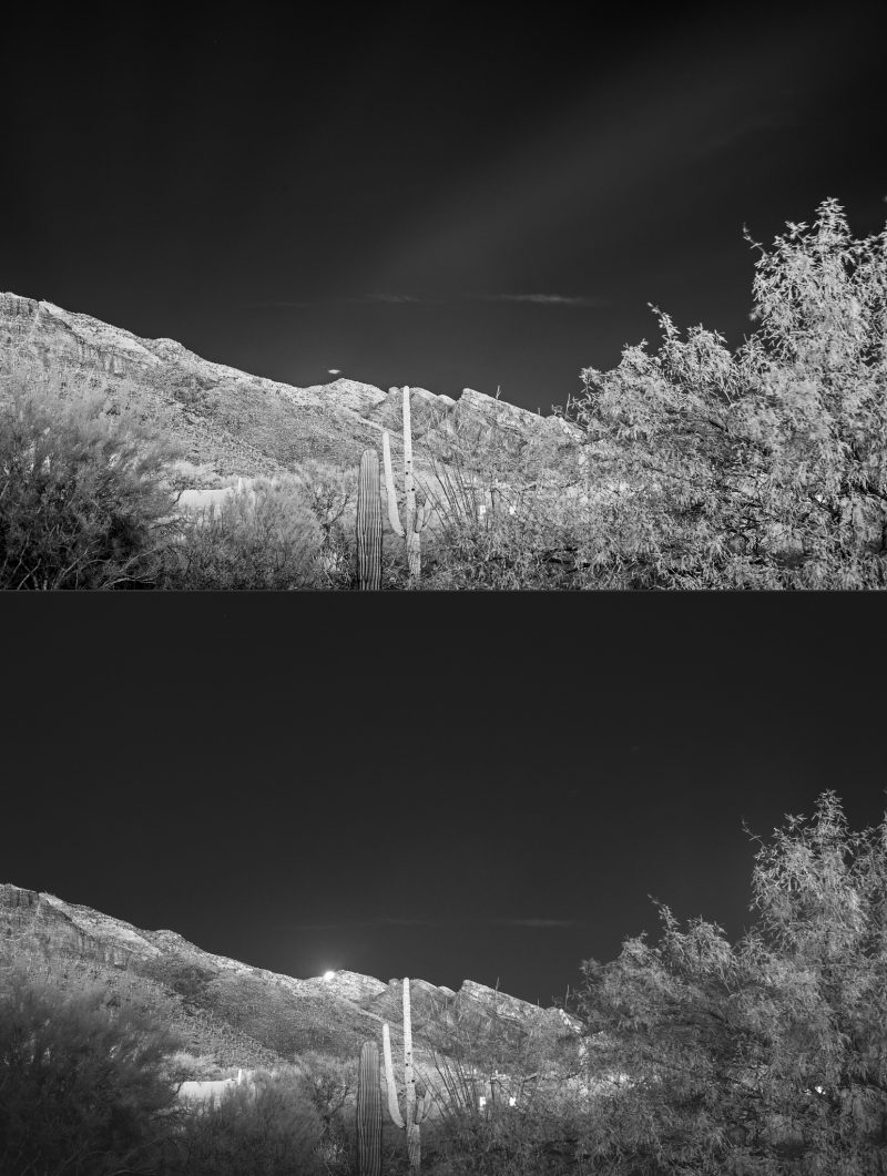 Isn't this cool? The top image shows a ray of moonlight from Sunday's supermoon, just before rising above the mountains near Tucson, Arizona. Photo via our friend Eliot Herman.