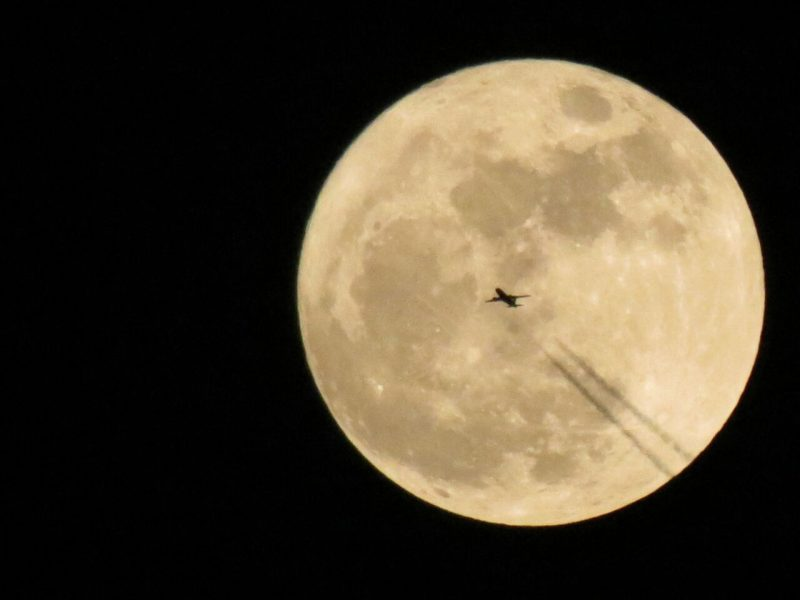 Fly me to the moon! We see many photos of airplanes in front of the moon, but this is a particularly nice one from Kunal Patel in India, November 14, 2016.