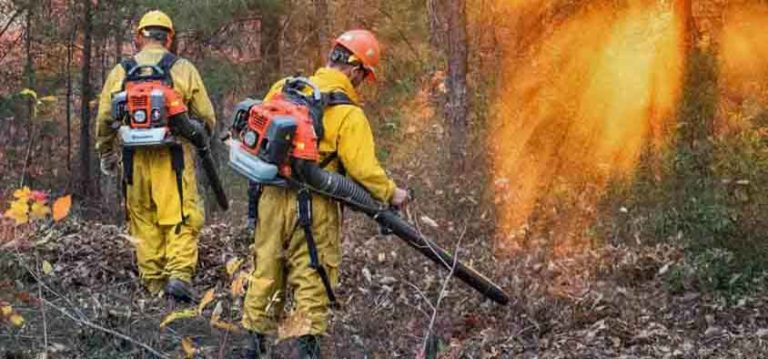 Firefighters operate leaf blowers on North Carolina's Chestnut Knob Fire. Image via Wildfire Today