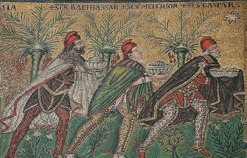 Mosaic of three men in ancient Persian clothing, holding gifts, palm trees in background.