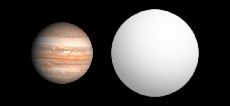 Jupiter - our solar system's largest planet - compared to planet HAT P7b. Image via Wikimedia Commons.