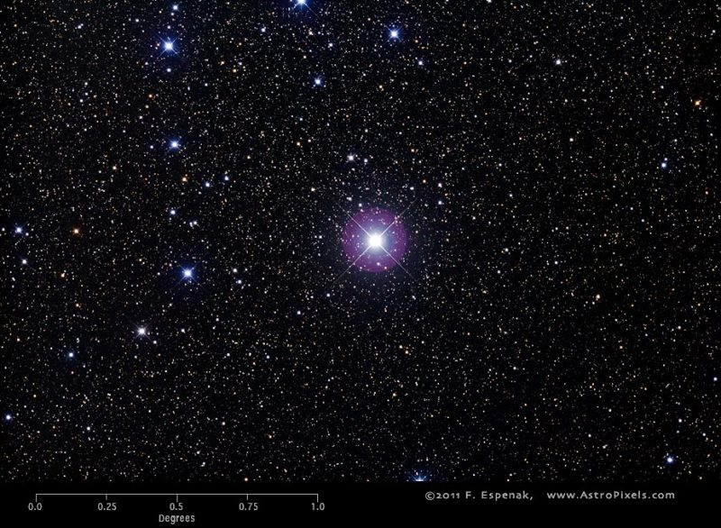Dense star field with one very bright star in middle with rays coming out of it.