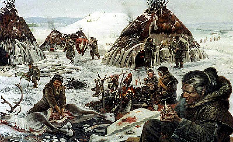 Illustration of an Ice Age village.
