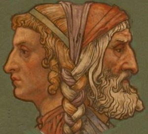 Two classical Roman faces back to back one young, the other old.