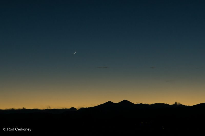Rod Cerkoney in Fort Collins, Colorado caught this month's very young moon. He wrote: