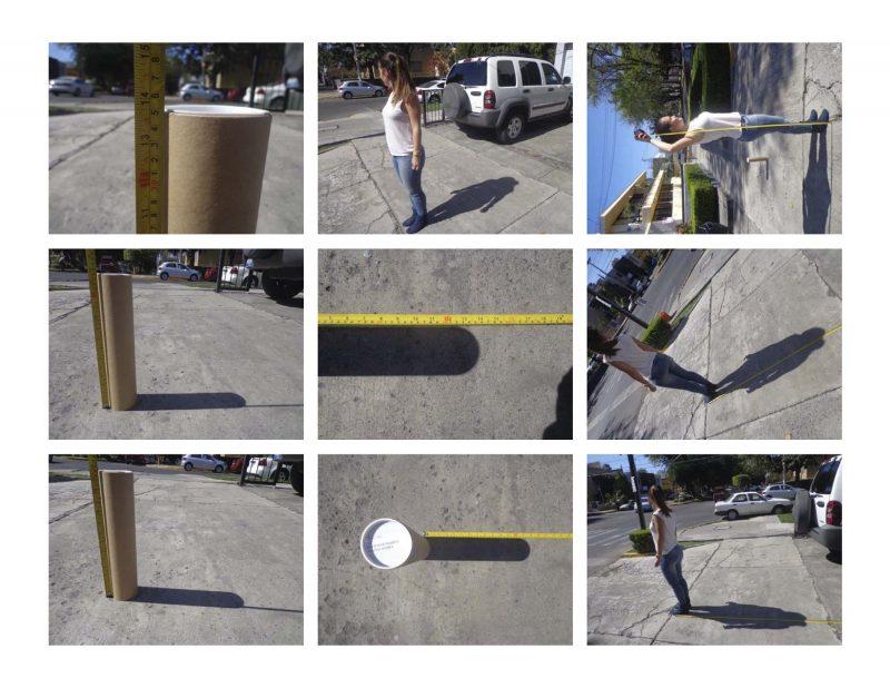 Nine panels showing people measuring shadows.