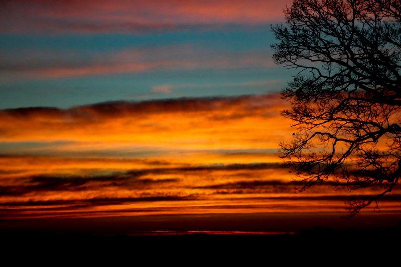 Brilliant orange sunrise.