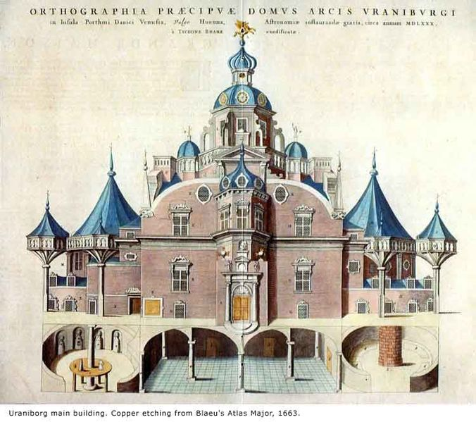Uraniborg main building from copper etching of Blaeu's Atlas Major 1663, Tycho Brahe's observatory on Hven, built ca 1576-1580. Image via Wikimedia Commons.