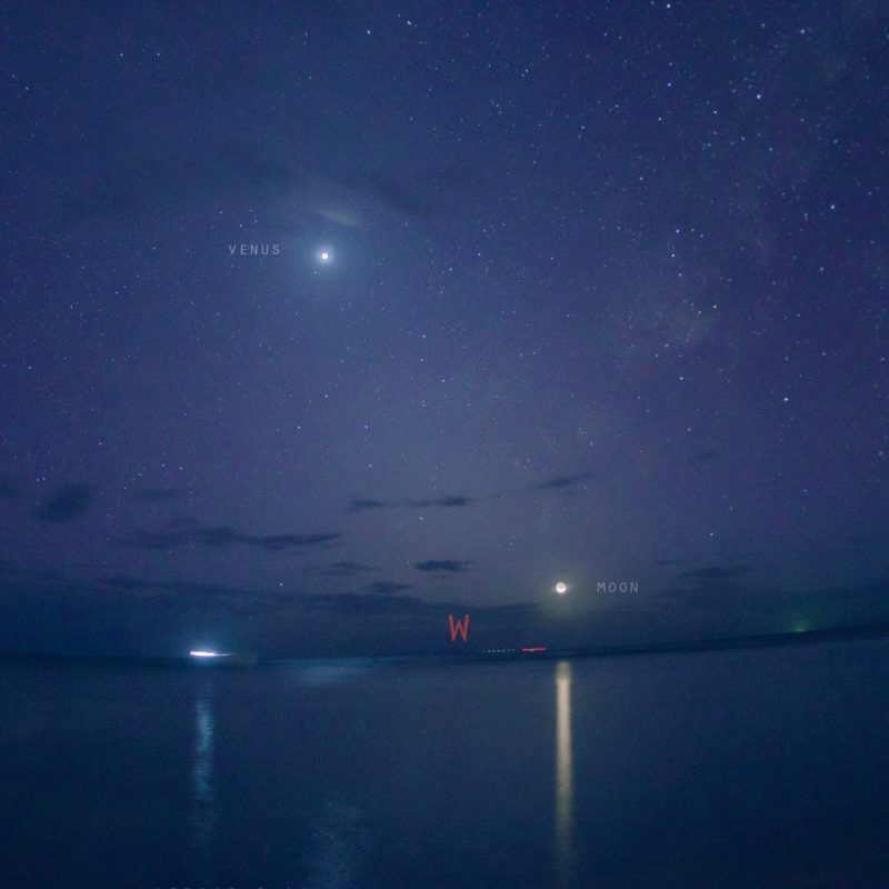 JV Noriega caught Venus and the crescent moon on December 1, setting over the West Philippine Sea.