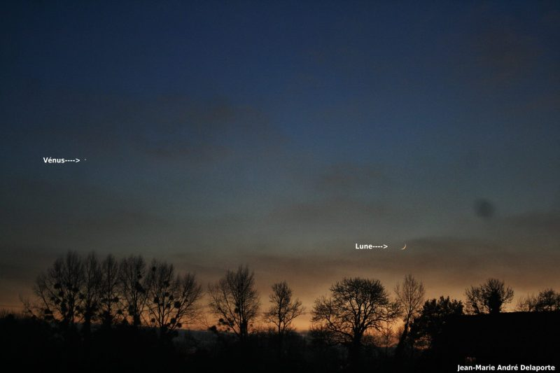 Jean Marie Andre Deleporte caught the moon and Venus from Normandy France, on December 1.