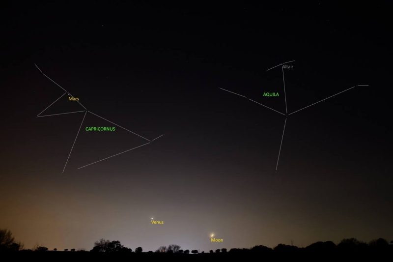 On December 2, Annie Lewis in Madrid, Spain caught a wide angle view of the sky, showing not only Venus and the moon, but also Mars and some constellations. The moon will be moving up past Mars in the days ahead.
