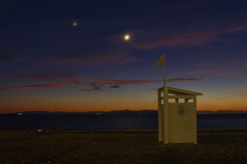 Nikolaos Pantazis at Glyfada, Greece caught the moon and Venus on December 2.