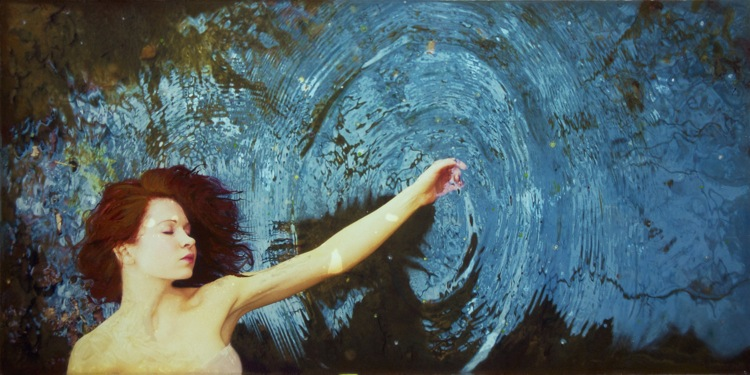 Painting of woman with outstretched bare arm drawing large, concentric blue circles on a wall.