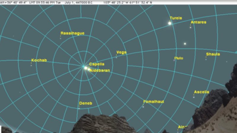 Sky dome with celestial latitude and longitude lines over desert landscape.