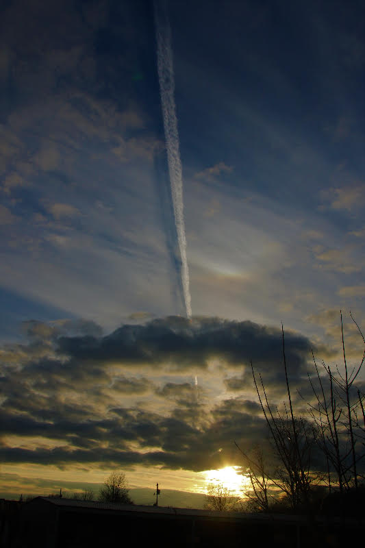 Dark clouds over sun near horizon, with vertical contrail and its shadow, trees in foreground.
