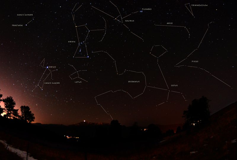 dark starry sky with constellation Eridanus