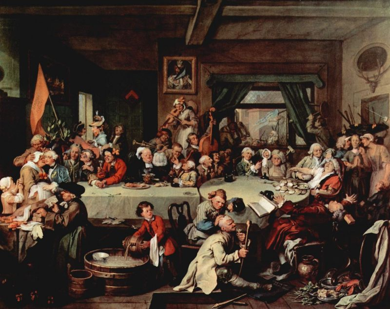 Chaotic party scene with lots of bewigged men gambling, eating, and carousing.