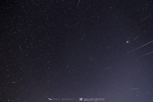 Starry sky with many thin meteor trails radiating out from one point.
